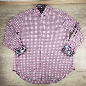 Robert Graham XL Plaid Pink Purple White Cuff